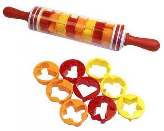 Скалка для теста Roll and Store Pin + формочки для печенья 9 шт, фото 2