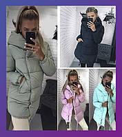 Женская зимняя удлинённая куртка зефирка олива, черный, мята, розовый, бордо ,серый,беж хаки 42 44 46
