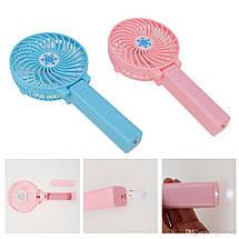 Портативный ручной или настольный мини вентилятор Mini Fan с USB зарядкой   Розовый, фото 2