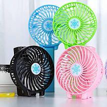 Портативный ручной или настольный мини вентилятор Mini Fan с USB зарядкой   Розовый, фото 3