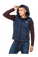Мужской стеганый жилет с капюшоном 48-58 размера синий