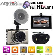 Автомобильный видеорегистратор Anytek A100-H на 2 камеры HDMI | Регистратор в машину, фото 2