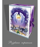 Новогодняя подарочная упаковка для конфет, Рождественская шкатулка с лентой,  Ангел, 1000 грамм