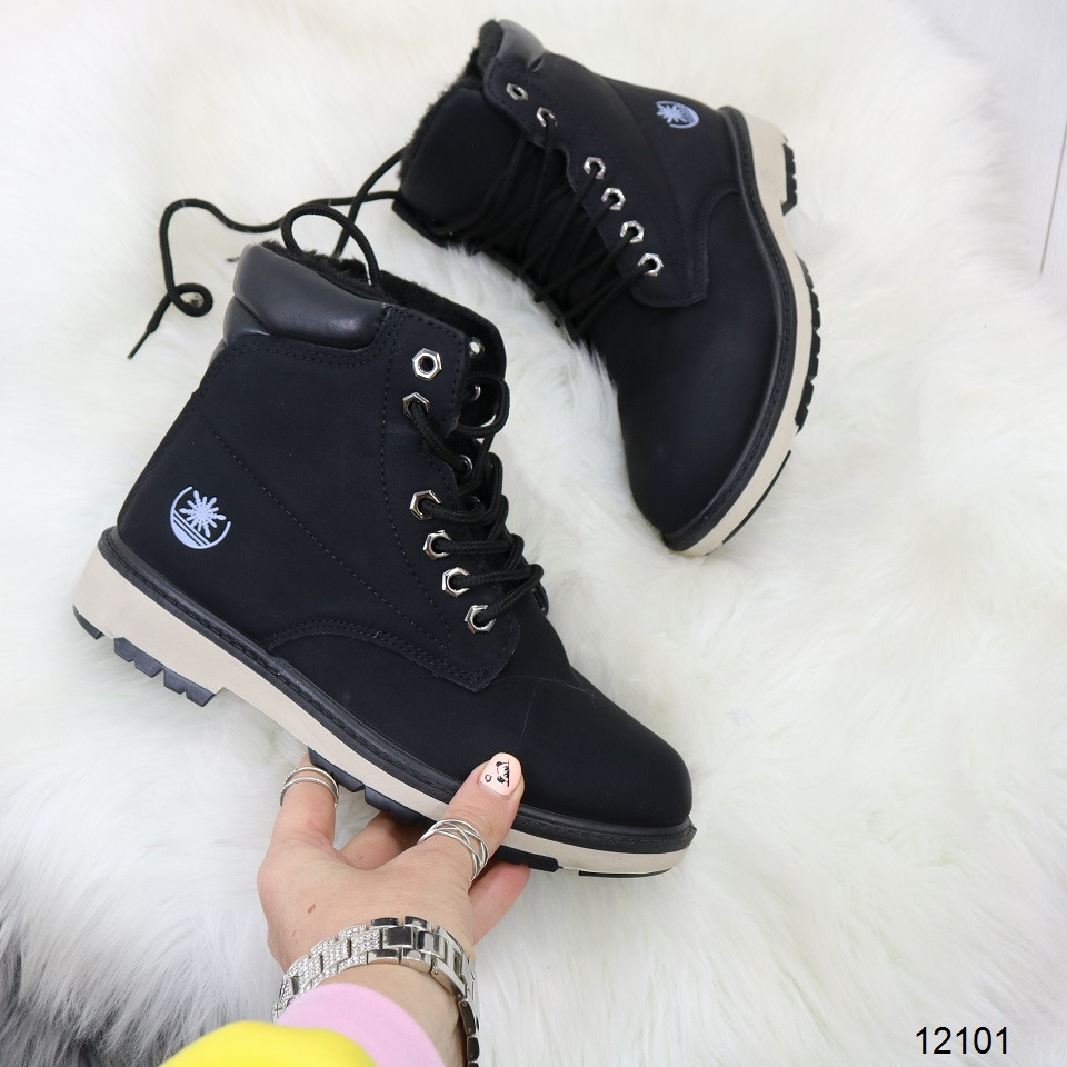 Женские зимние ботинки черного цвета, эко кожа