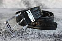 Черный ремень кожаный мужской брючной 3,5 см