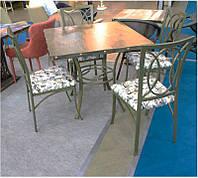 Комплект Марсель В-188 стол + 4 стула бронза на металлической каркасе, для бара, кафе, ресторана