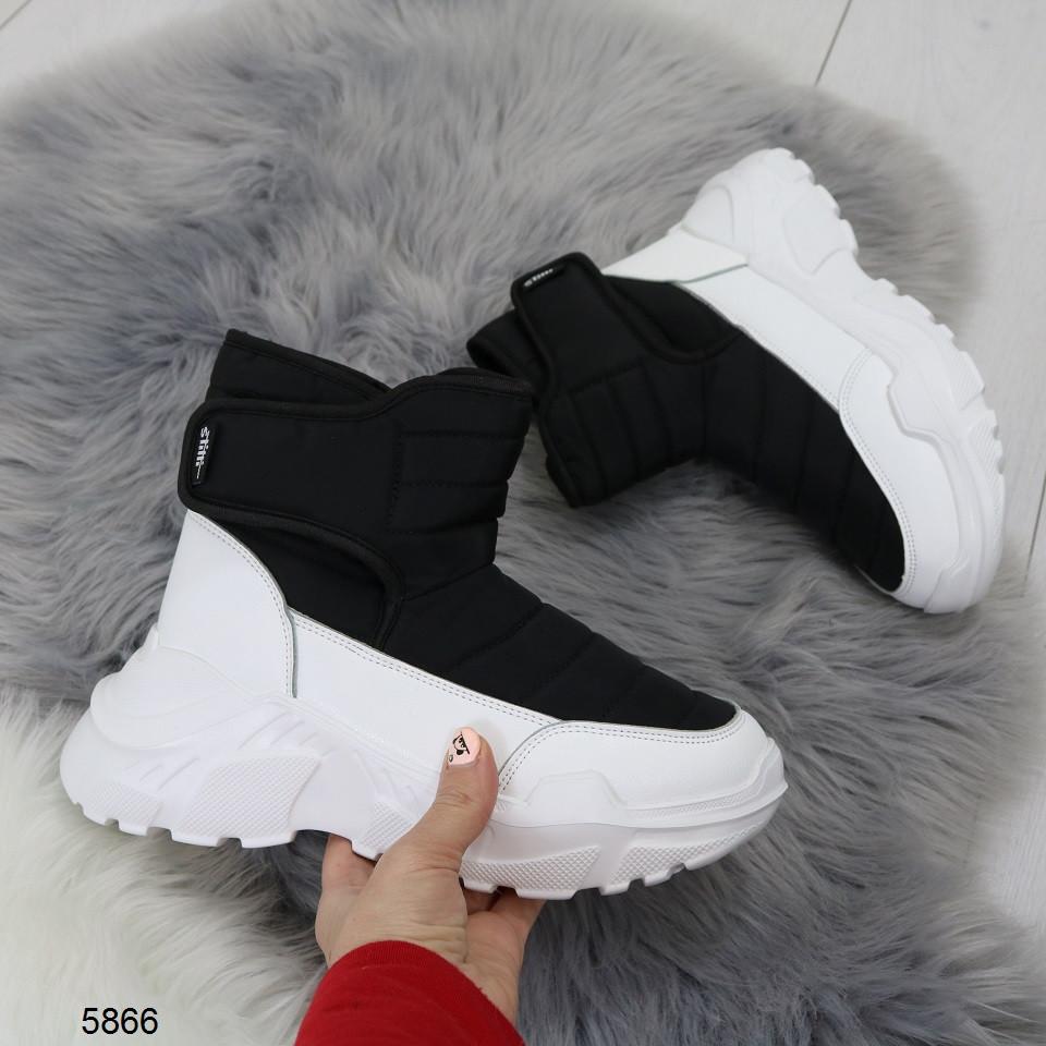 Женские зимние ботинки черного цвета, эко кожа/плащевка  40 ПОСЛЕДНИЕ РАЗМЕРЫ