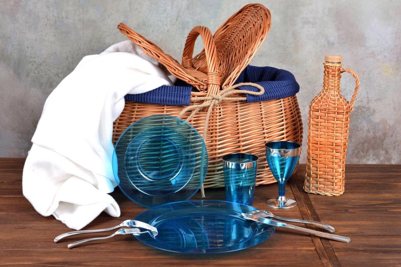 Посуда пластиковая многоразовая плотная для пикника. Полная сервировка стола 90 шт 6 чел