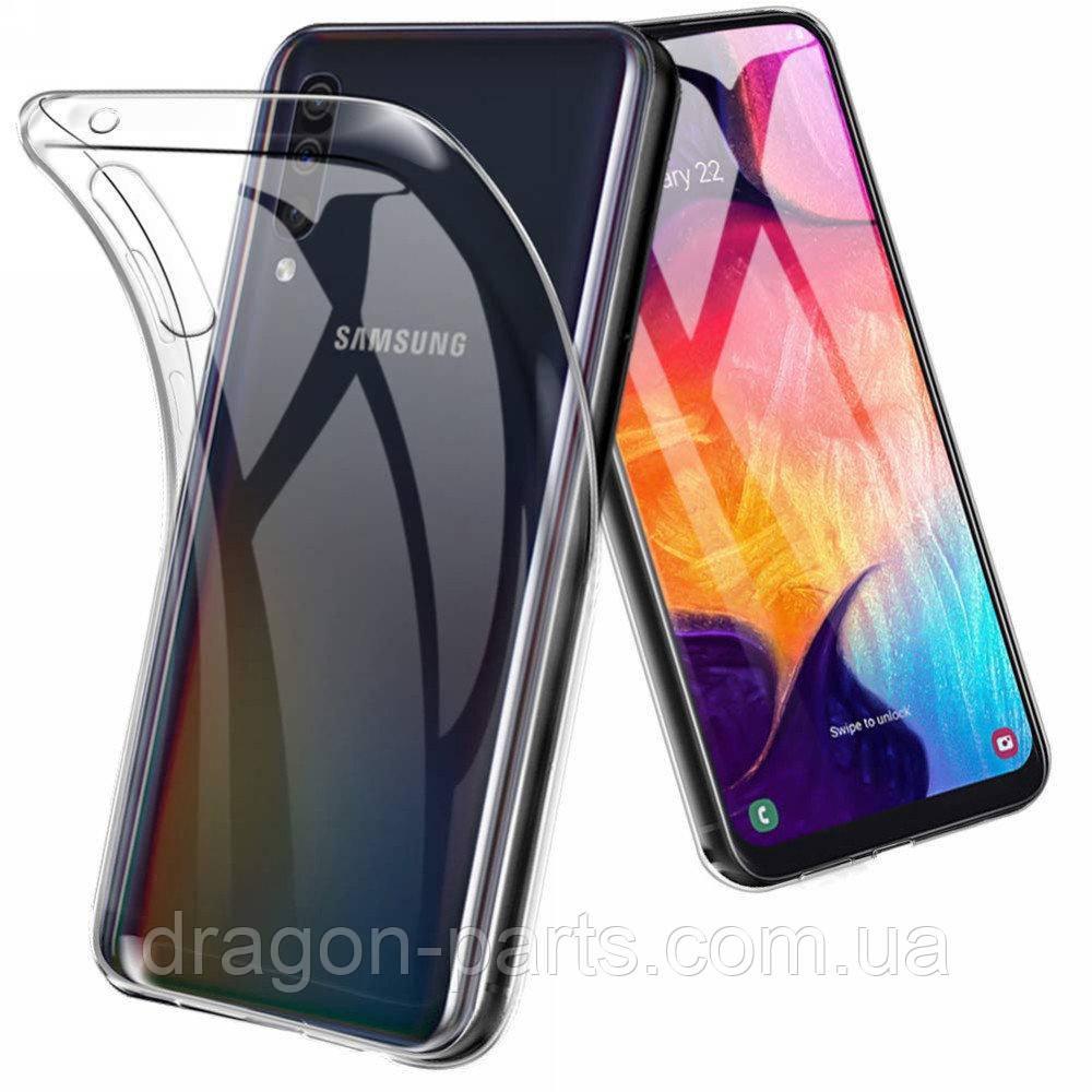 Прозрачный силикон чехол бампер Samsung Galaxy A50
