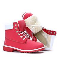 Женские ботинки  красные тимберленды мех  осень-зима  Европа 36-41 размер