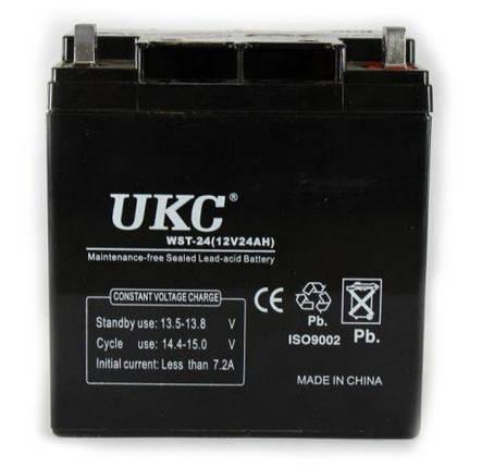 Герметичный кислотно-свинцовый аккумулятор UKC BATTERY 12V, 24А, фото 2