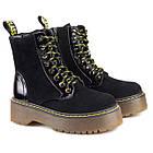 Черные замшевые женские ботинки 36-40 Woman's heel с высокой подошвой и шнурками, фото 2
