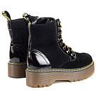 Черные замшевые женские ботинки 36-40 Woman's heel с высокой подошвой и шнурками, фото 3