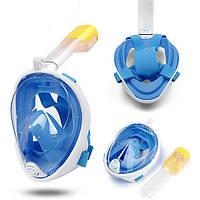 Полнолицевая панорамная маска для плавания UTM FREE BREATH (S/M) Голубая с креплением для камеры