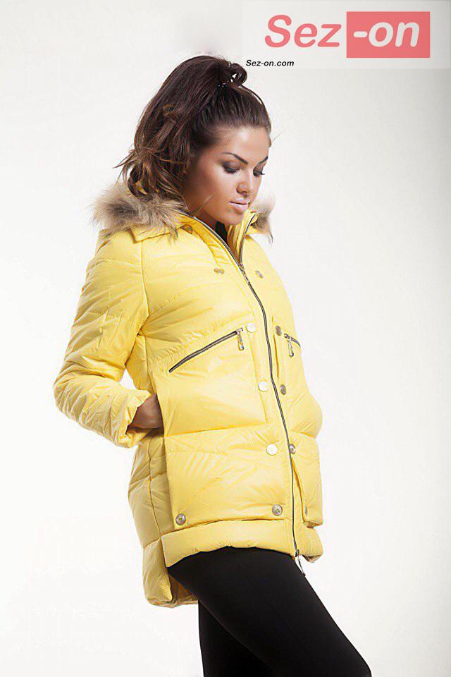 Куртка-парку жіноча MONCLER з натуральним хутром ― Жовтий
