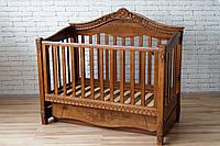 Детская кроватка диванчик VIVA Victoria, орех, ясень, с ящиком, поперечным маятником, Ласка-M, место 120*60