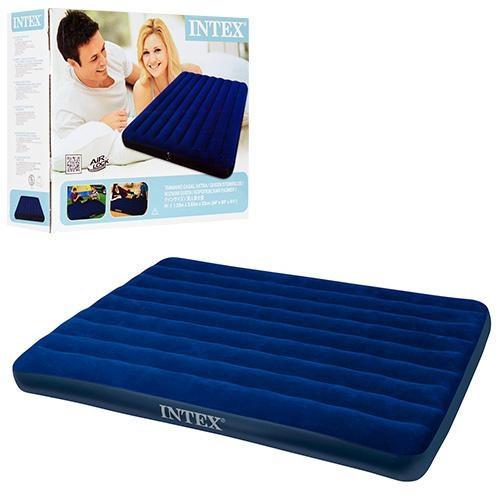 Пляжный надувной полуторный матрас - плот велюровый INTEX 68759SH 152-203-22 см | Синий