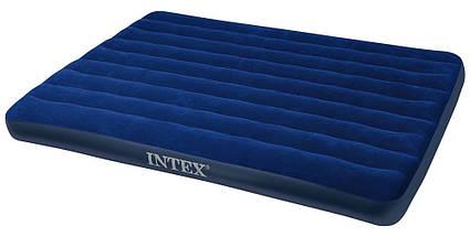 Пляжный надувной полуторный матрас - плот велюровый INTEX 68759SH 152-203-22 см | Синий, фото 2