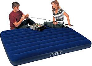 Пляжный надувной полуторный матрас - плот велюровый INTEX 68759SH 152-203-22 см | Синий, фото 3