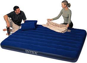 Пляжный надувной двуспальный матрас - плот велюровый + надувные подушки и насос Intex 68765SH |Синий, фото 2