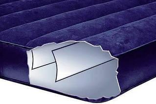 Пляжный надувной двуспальный матрас - плот велюровый + надувные подушки и насос Intex 68765SH |Синий, фото 3
