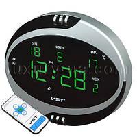 Часы сетевые VST 770 Т-4 салатовые, пульт Д/У