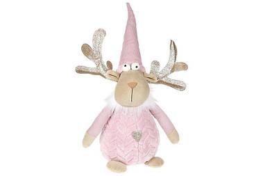 Мягкая новогодняя игрушка Олень 48см, цвет - розовый