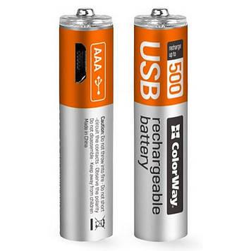 Аккумулятор ColorWay AAA micro USB 400 mAh * 2 (CW-UBAAA-01)