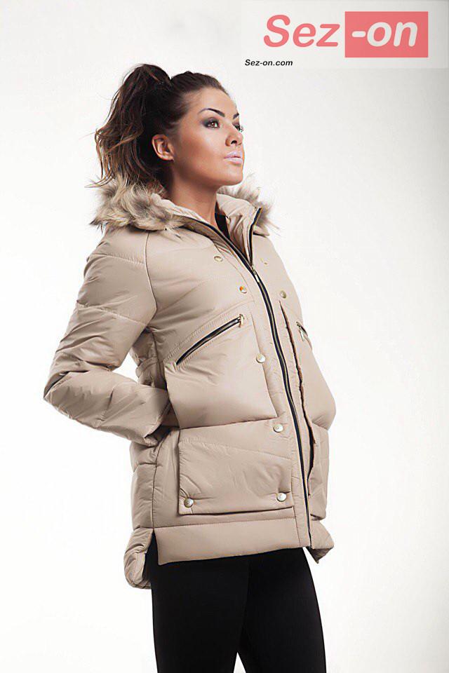 Куртка-парку жіноча MONCLER з натуральним хутром ― Бежевий