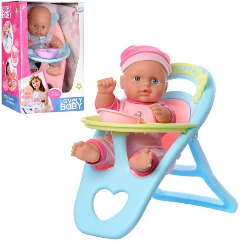 Пупс в стульчике для кормления с посудой WZJ 017-2 | В розовой одежде