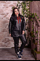 Модный женский кардиган из эко кожи больших размеров с 48 по 82