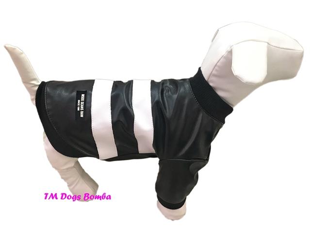 Куртка кожаная черно-белая для собак DogsBomba