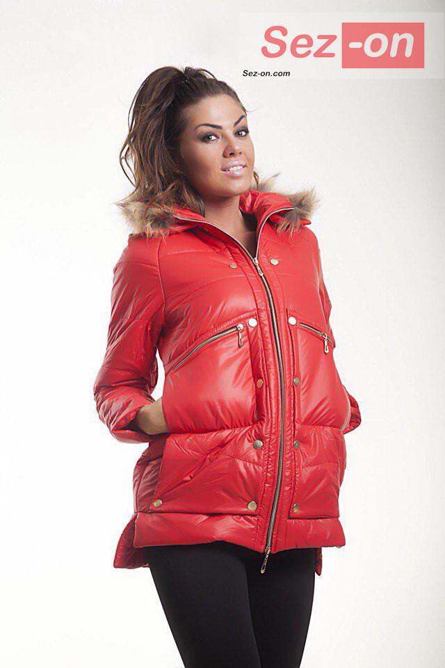 Куртка-парку жіноча MONCLER з натуральним хутром ― Червоний