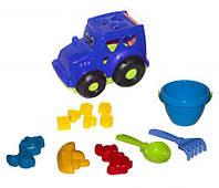 Сортер-трактор Кузнечик №3  синий с песочным набором