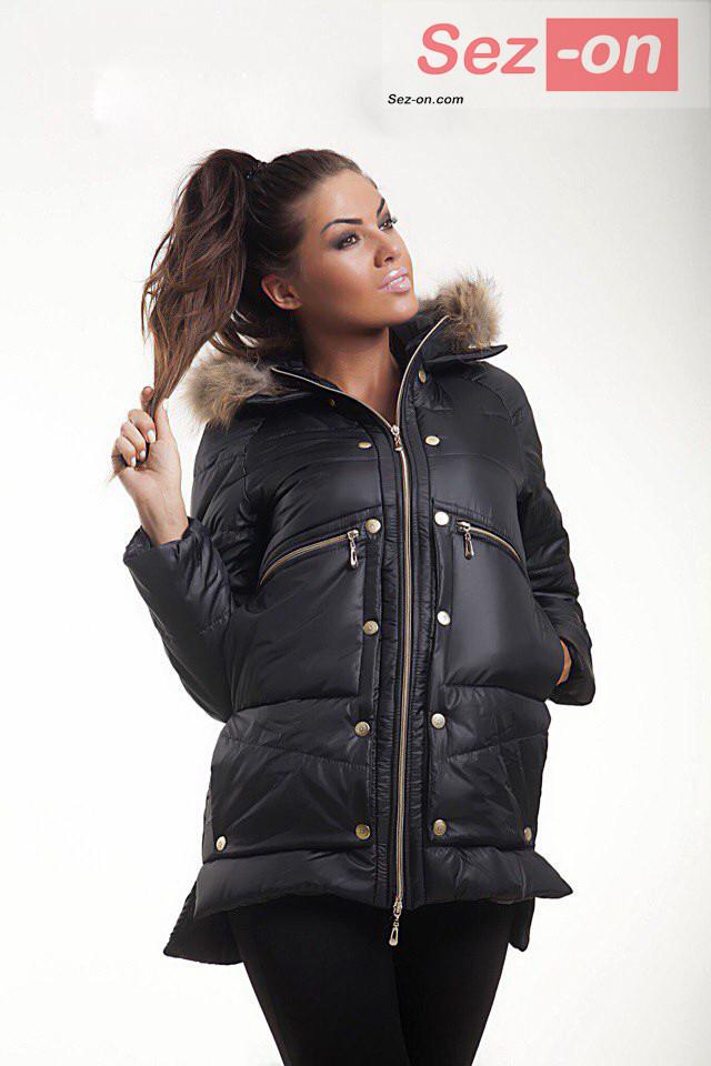 Куртка-парку жіноча MONCLER з натуральним хутром ― Чорний