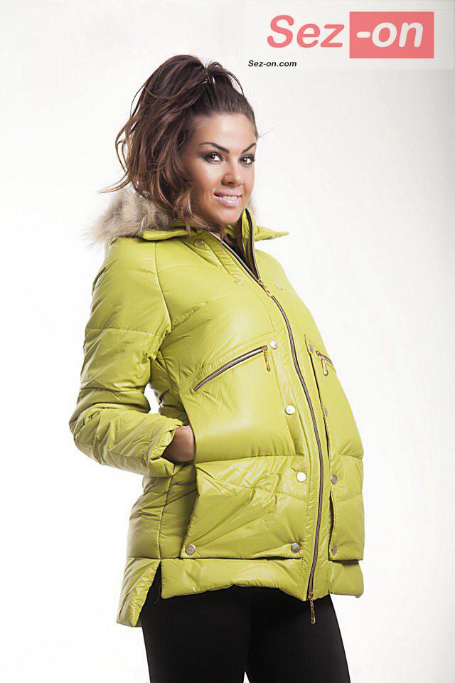Куртка-парку жіноча MONCLER з натуральним хутром ― Салатовий