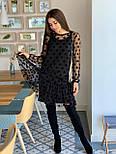 Женское красивое платье черное в горох из сетки (низ дайвинг), фото 4