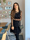 Женское красивое платье черное в горох из сетки (низ дайвинг), фото 6