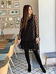Женское красивое платье черное в горох из сетки (низ дайвинг), фото 7