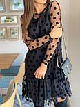 Женское красивое платье черное в горох из сетки (низ дайвинг), фото 8