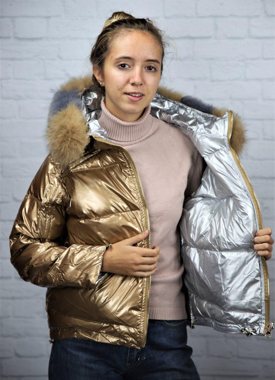 Зимова двостороння куртка-пуховик з натуральним хутром 44-46 р