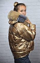 Зимова двостороння куртка-пуховик з натуральним хутром 44-46 р, фото 2