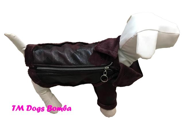Куртка дубляж змейка марсала для собак DogsBomba