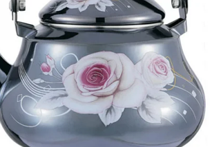 Емальований чайник з рухомою ручкою Benson BN-102 2 л | Чорний з малюнком, фото 3