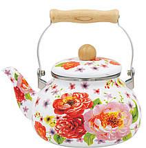 Емальований чайник з рухомою дерев'яною ручкою Benson BN-109 2.5 л   Білий з малюнком, фото 2