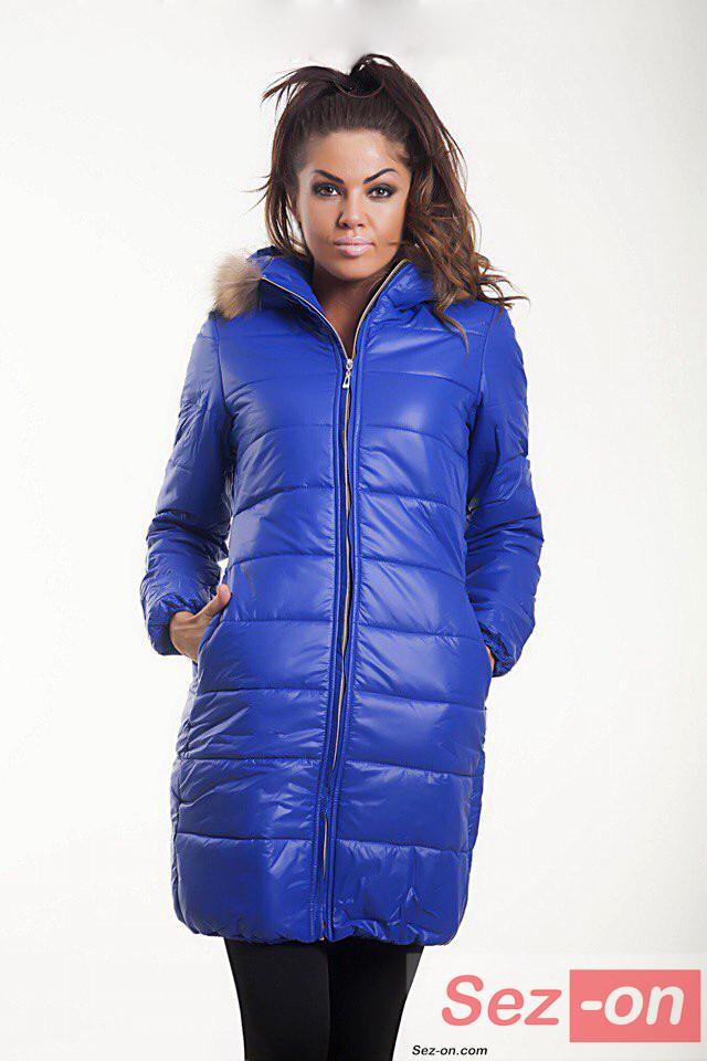 Куртка жіноча зимова Moncler на синтепоні ― Синій