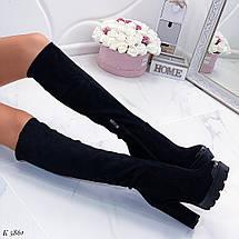 Зимние замшевые сапоги на каблуке, фото 2