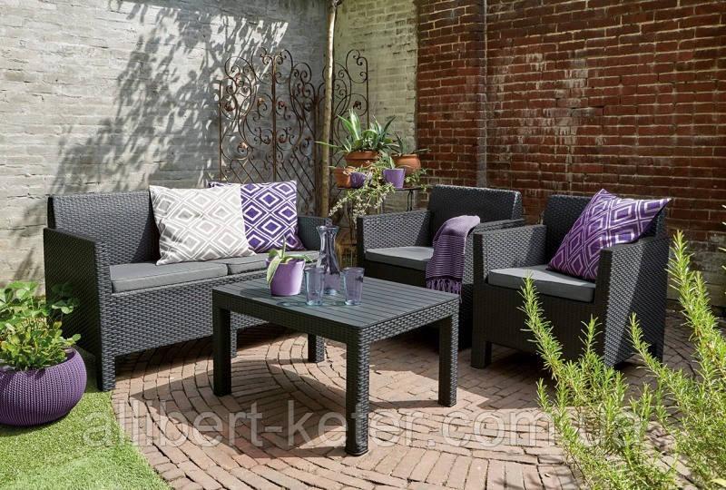 Набор садовой мебели Orlando Set With Large Table из искусственного ротанга ( Allibert by Keter )
