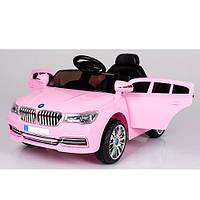 Детский электромобиль BMW M 3271EBLR-8 с кожаным сиденьем, розовый