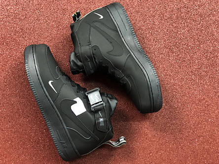 Подростковые зимние высокие кроссовки Nike Air Force,черные нубук 36,38р, фото 2